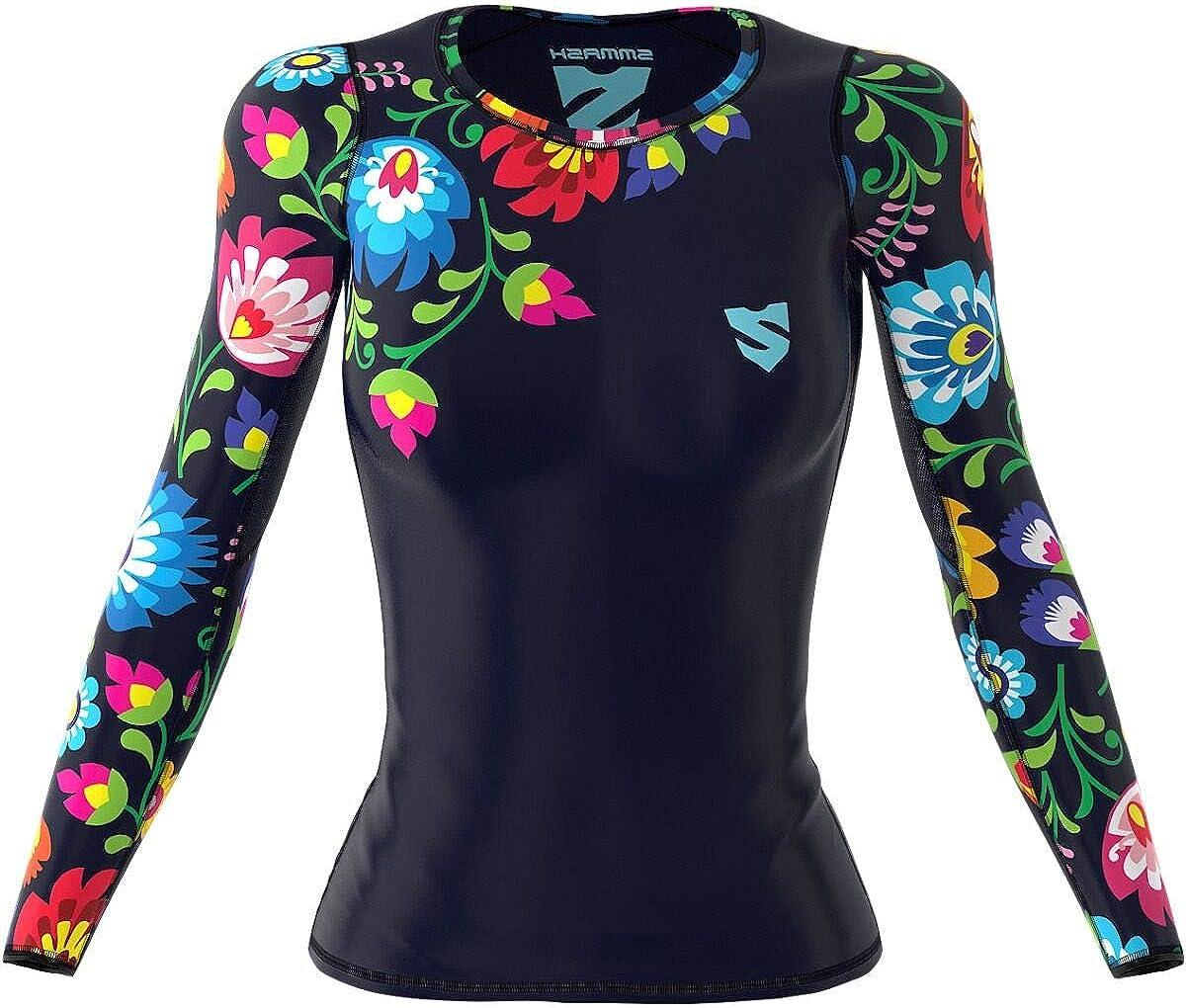 Sportshirt Damen Sport Funktionsshirt f/ür Crossfit Antibakterielles Material Hergestellt in der EU SMMASH Winter Leaves Damen Compression Funktionsshirt Kurze Atmungsaktiv und Leicht Gym