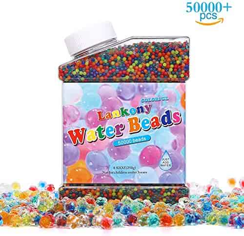 Lankony Water Beads Pack (50000 Beads) Rainbow Mix Jelly Water Growing Balls for Kids Tactile Sensory Toys, Vases, Plants, Party, Wedding and Home Decoration