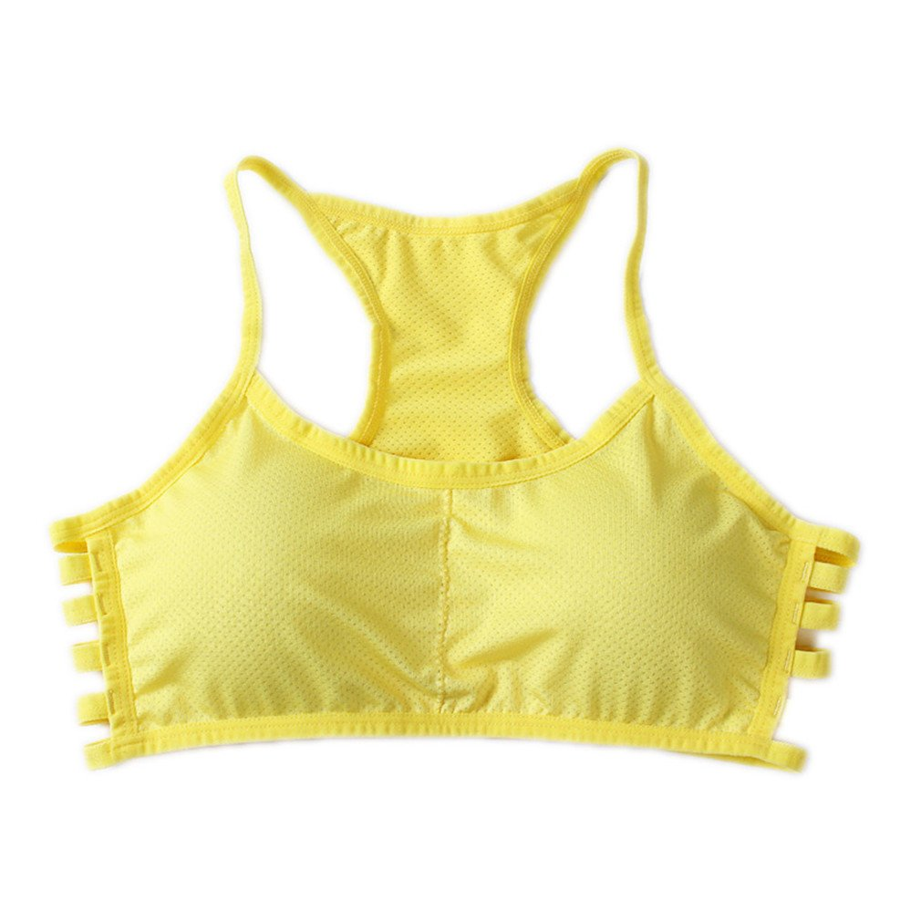 Lalasexyi Women Cotton Stretch Athletic Vest Gym Fitness Sports No Rims 1/4 Cup Padded Yellow