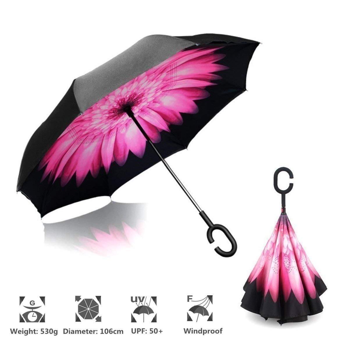 Shoppoworld Inverted Umbrella Windproof Upside Down Reverse Travel Umbrella