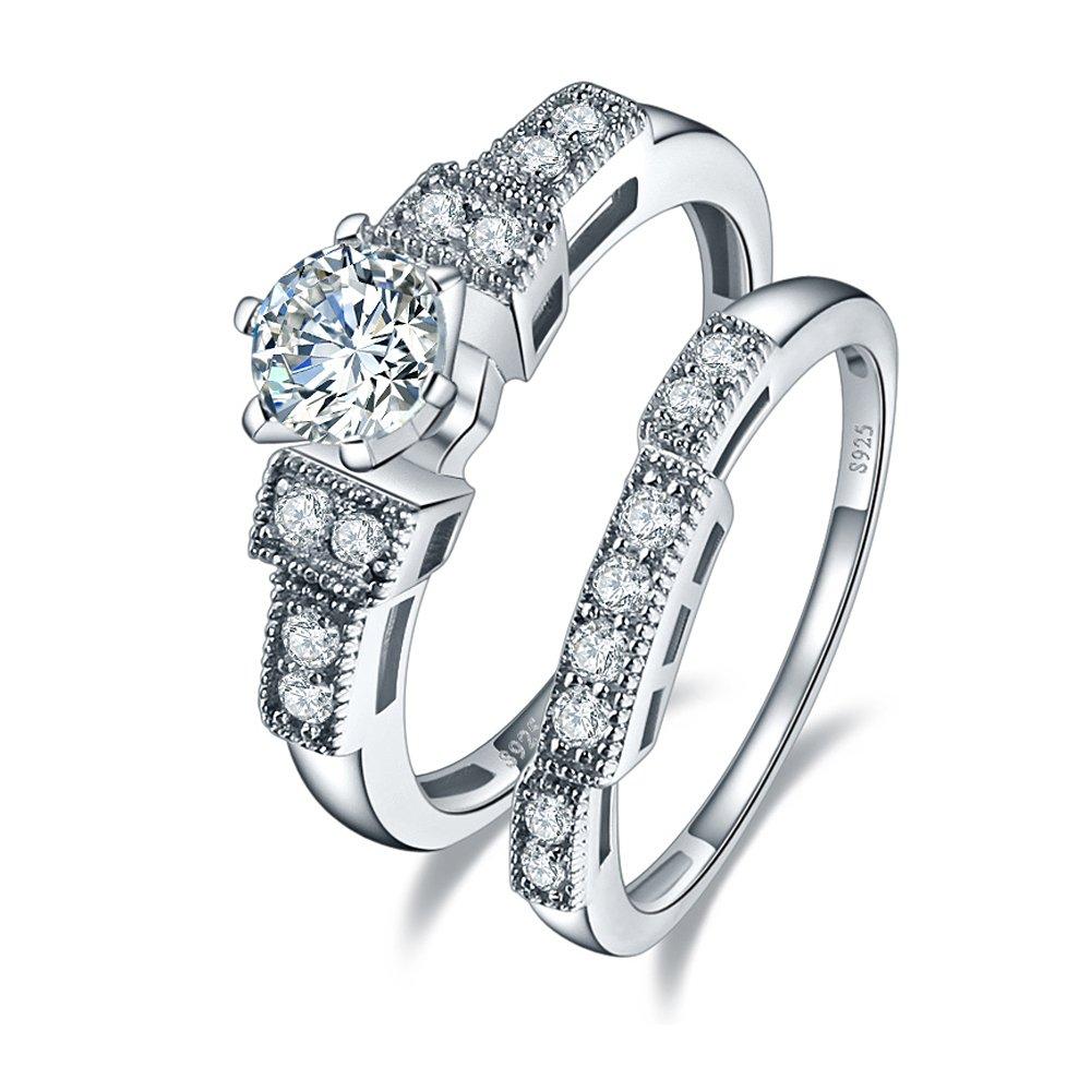 BONLAVIE 1.25ct Cubic Zirconia Wedding Anniversary Engagement Ring Bridal Set 925 Sterling Silver 10