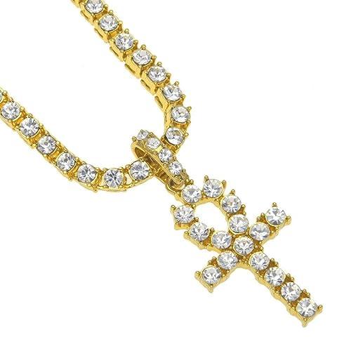 Botrong® Hip Hop Hombres Mujeres Joyería Bling Rhinestone Cristal Llavero Cruz Colgante Collar: Amazon.es: Joyería