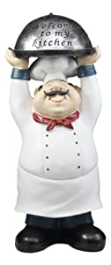 """Ebros Master Bistro Chef Holding Melting Dome Tray Statue 14""""Tall Head Cook With """"Welcome To My Kitchen"""" Sign Decor Figurine"""