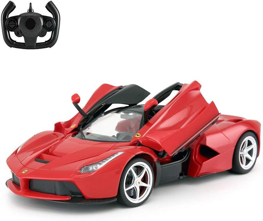 ADOV Coche Teledirigido, 1/14 Escala Electric Coches RC con Carga USB, Alta Velocidad Radiocontrol Car, Control Remoto Juguete Niños Adultos (La Ferrari Rojo 50160)