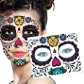 Adecco LLC Floral Day of the Dead Sugar Skull Temporary Face Tattoo Kit--Pack of 3 kits