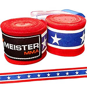 "Meister Adult 180"" Semi-Elastic Hand Wraps for MMA & Boxing (Pair) - American"