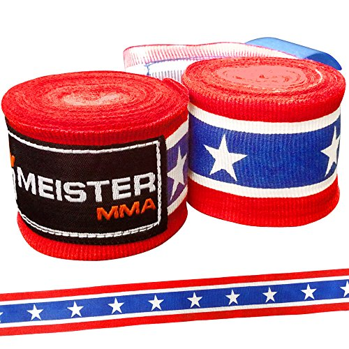 Meister Adult 180' Semi-Elastic Hand Wraps for MMA & Boxing (Pair) - Black