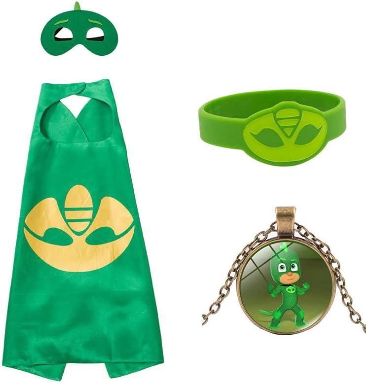 Masken Yimidear Cosplay Kost/üm Cartoon PJ Masks Satin Capes Armband und Halskette f/ür Halloween // Weihnachten // Geburtstag // Party // Geschenk 3 Pack
