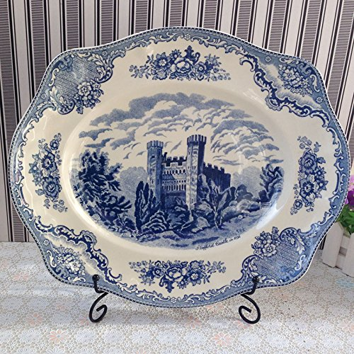 BZCPZ Blue Scenery castles tableware in Western dish coffee cup,16 inch big fish plate