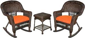 Jeco 3 Piece Rocker Wicker Chair Set With With Orange Cushion, Espresso