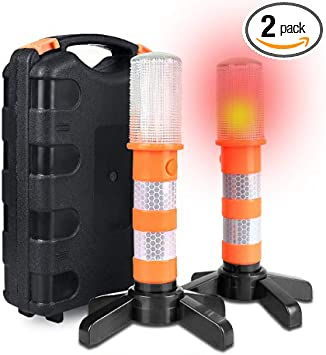 2x Flares Road Warning Beacon Emergency LED Light Roadside Flashing Safe Strobe