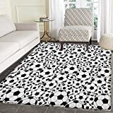 Soccer Rugs for Bedroom Monochrome Design Pattern of Classical Football Balls Kids Boys Cartoon Pattern Circle Rugs for Living Room 3'x5' Black White