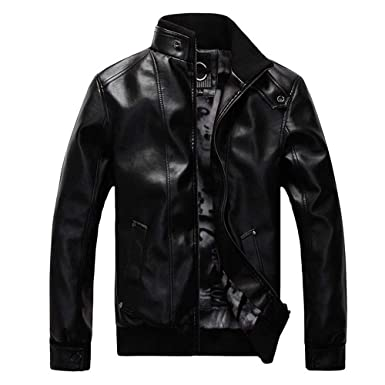 WM & MW Mens Jacket Fur Leather Solid Fashion Vintage Zipper Biker Motorcycle Jacket Casual Slim