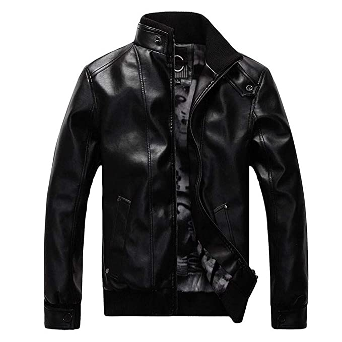 WM & MW Mens Jacket Fur Leather Solid Fashion Vintage Zipper Biker Motorcycle Jacket Casual Slim Coat at Amazon Mens Clothing store:
