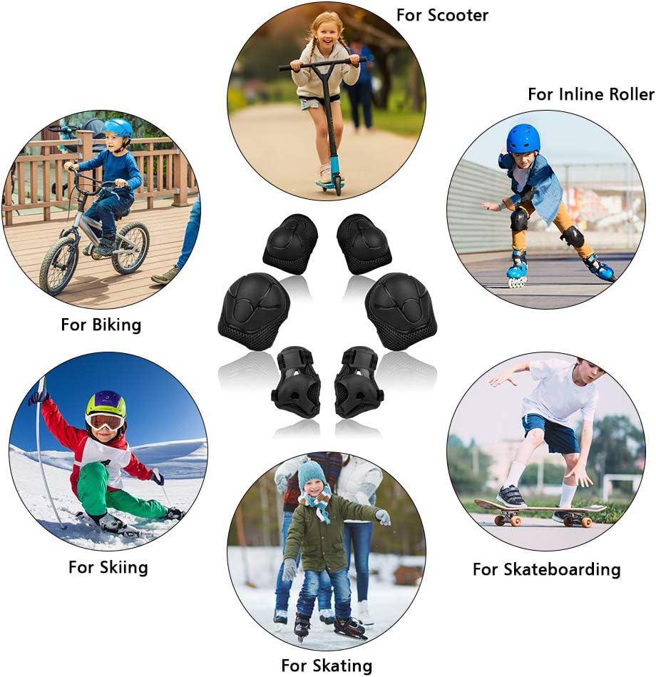Gomiti 6 Pezzi Set di Ginocchiere per Protezioni Ginocchiere Polsi Sicurezza Bambini Gear Pad di Protezione per Roller Skate Bici Skateboard Sport Vikaster Set di Protezioni per Bambini