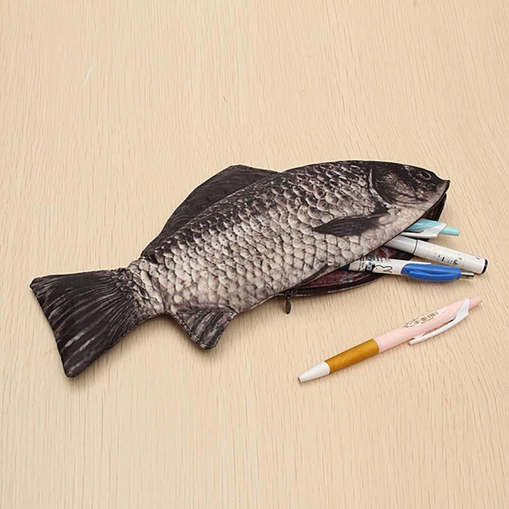 Wffo カープペンバッグ メイクアップポーチ ペンケース リアルな魚の形 ジッパー付き ブラック  ブラック B07JDWZMGQ