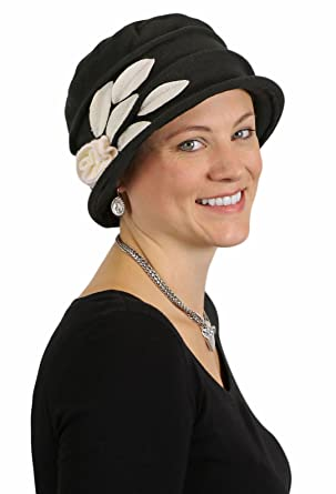 Fleece Hats for Women Cloche Cancer Headwear Chemo Cap Hair Loss Ladies  (Black with Cream d3bd2f19c9d