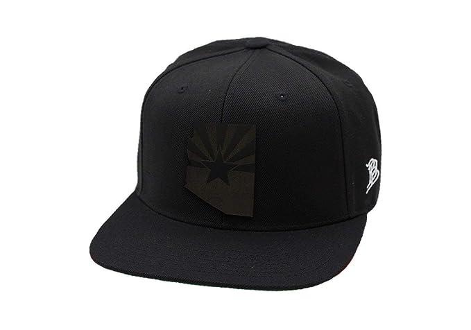 e4220e7c150 Branded Bills Arizona 'Midnight 48' Black Leather Patch Snapback Hat- -  Black/