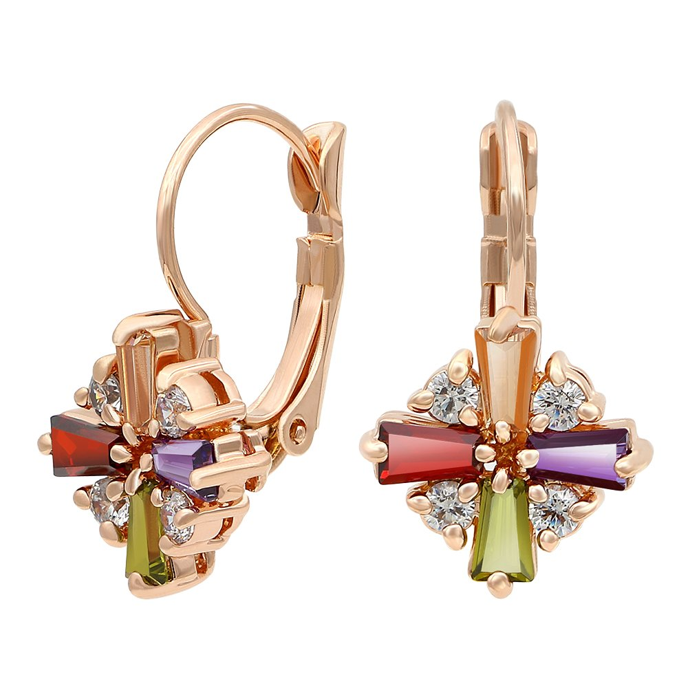 Kemstone Rose Gold Plated Colorful Cubic Zirconia Leverback Dangle Earrings for Women E3215750701ABA-CA