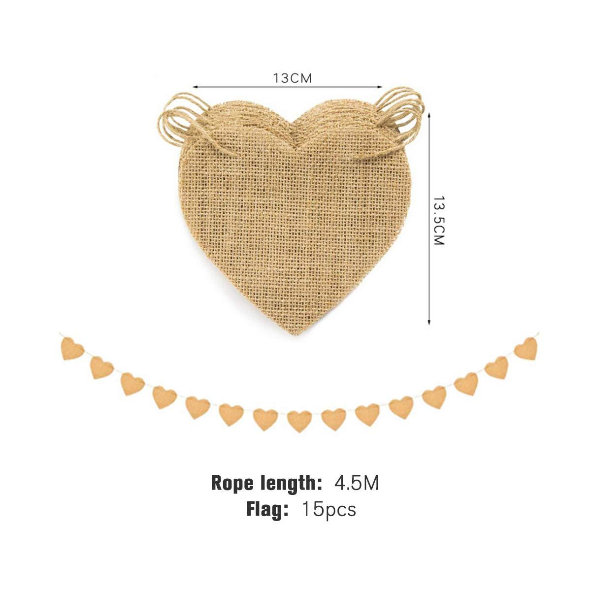 Jeteven 4.5m 15 Flags DIY Liebe Form Hochzeit Vintage Herz Jute Bunting Banner, Wimpel Hessischen Girlande Rustikal für Hochzeit Party oder andere Festivalfeier(4.5m)