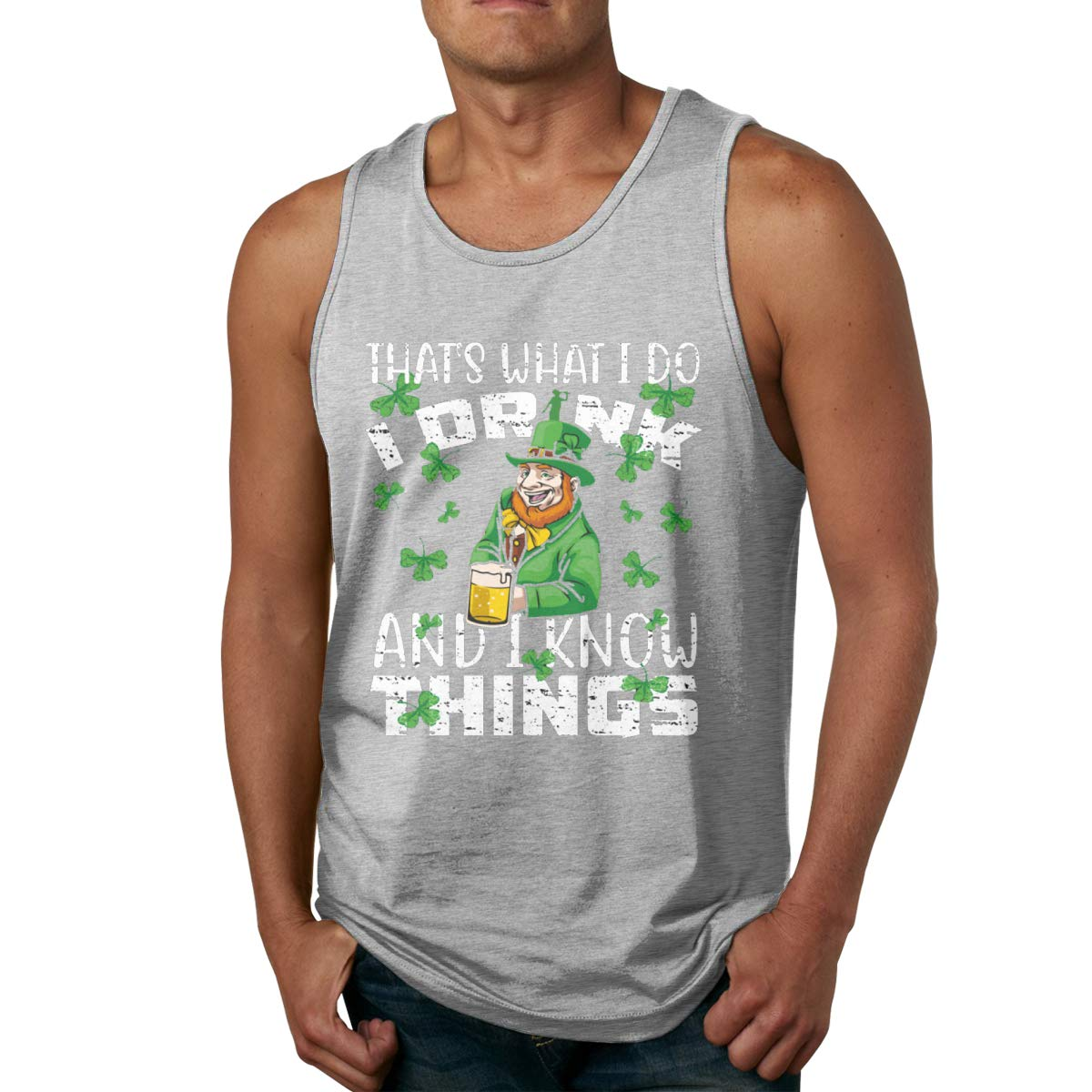 Mens Tank Tops I Drink and I Know Things Shirts Summer Workout Tees Muscle T Shirt Top