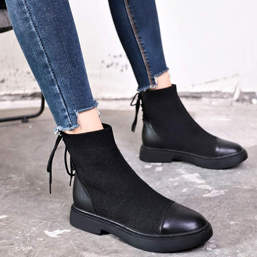 Black Lace Up Stretchy Round Toe Boots for Girls by Nevera Women Casual Mid Heel Boots