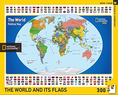 New York Puzzle Company - National Geographic The World Kids Map - 300 Piece Jigsaw Puzzle