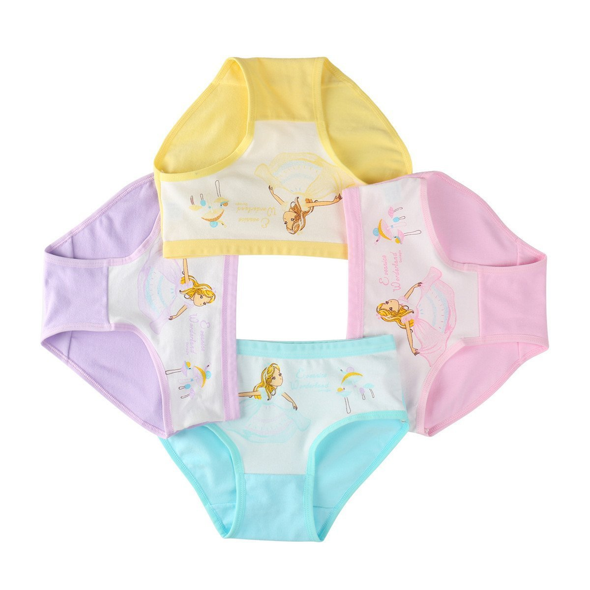 Maylife Little Girls Kids Baby Toddler 4Pcs Beauty Princess Soft Cotton Boyshort Panties Underwear