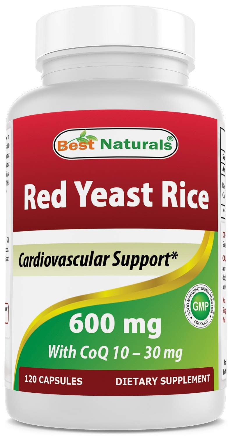 Best Naturals Red Yeast Rice with CoQ10, 120 Capsules - Cardiovascular Formula Contains 600 mg of Red Yeast Rice ans 30 mg of CoQ10