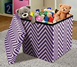 Sorbus Chevron Storage Ottoman Cube – Foldable/ Collapsible with Lid Cover – Perfect Hassock, Foot Stool, Toy Storage Chest, and more (Small-Ottoman, Chevron Purple)