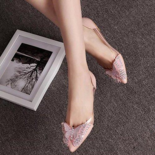 Cooljun Sommer-Frauen-Niet-Sandelholze, Ballett-Ebenen-Flache Art- und Weisesandelholze Bequeme Schuhe Pink