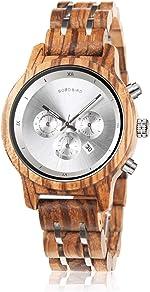 BOBO BIRD Women Wooden Watches Luxury Wood Metal Strap Chronograph &