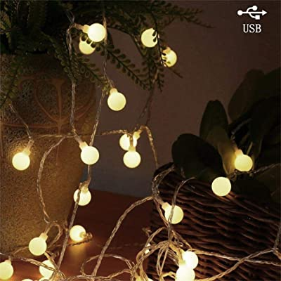AMARS 33ft String Lights USB Plug in Design Bedroom Outdoor LED Twinkle Globe Fairy Light Room Wall Hanging Decorative Lighting for Backyard Camping Porch Patio Balcony (Warm White) : Garden & Outdoor