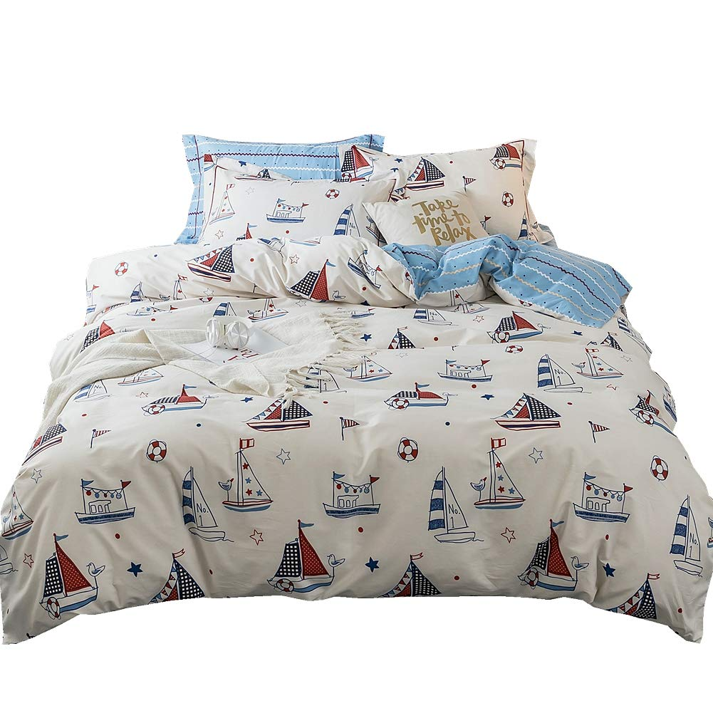 LAYENJOY Kids Sailboat Ship Nautical Cotton Duvet Cover Twin 3 Piece 200 Thread Count Reversibly White Blue Striped Comforter Cover for Teens Boys Girls Comforter Quilt Cover with Zipper Closure