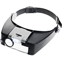 KKmoon Venda Lámpara Lupa Ajustable Joyería Iluminado Aumentador Ojo Gafas Lente Lupa 2 Led Ligero Visera para…