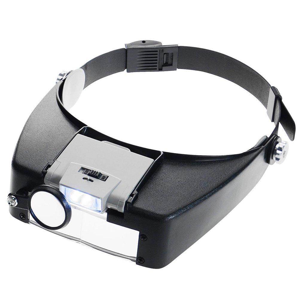 KKmoon Venda Lámpara Lupa Ajustable Joyería Iluminado Aumentador Ojo Gafas Lente Lupa 2 Led Ligero Visera