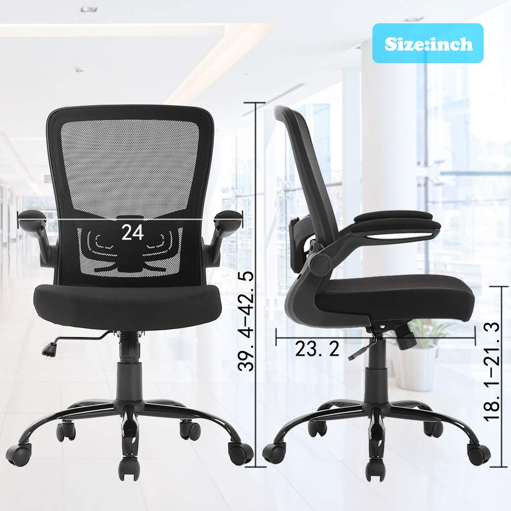 Ergonomic Office Chair Cheap Desk Chair Mesh Computer Chair with Lumbar Support Flip Up Arms Swivel Rolling Adjustable Mid Back Computer Chair for Women Men Adults,Black by BestOffice (Image #7)