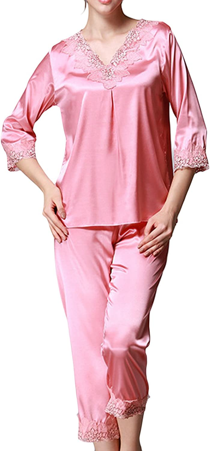1920s Nightgowns, Pajamas and Robes History Asherbaby Womens Satin Pajamas Luxury Embroidery V-Neck Lounge Pj Set with Pants  AT vintagedancer.com