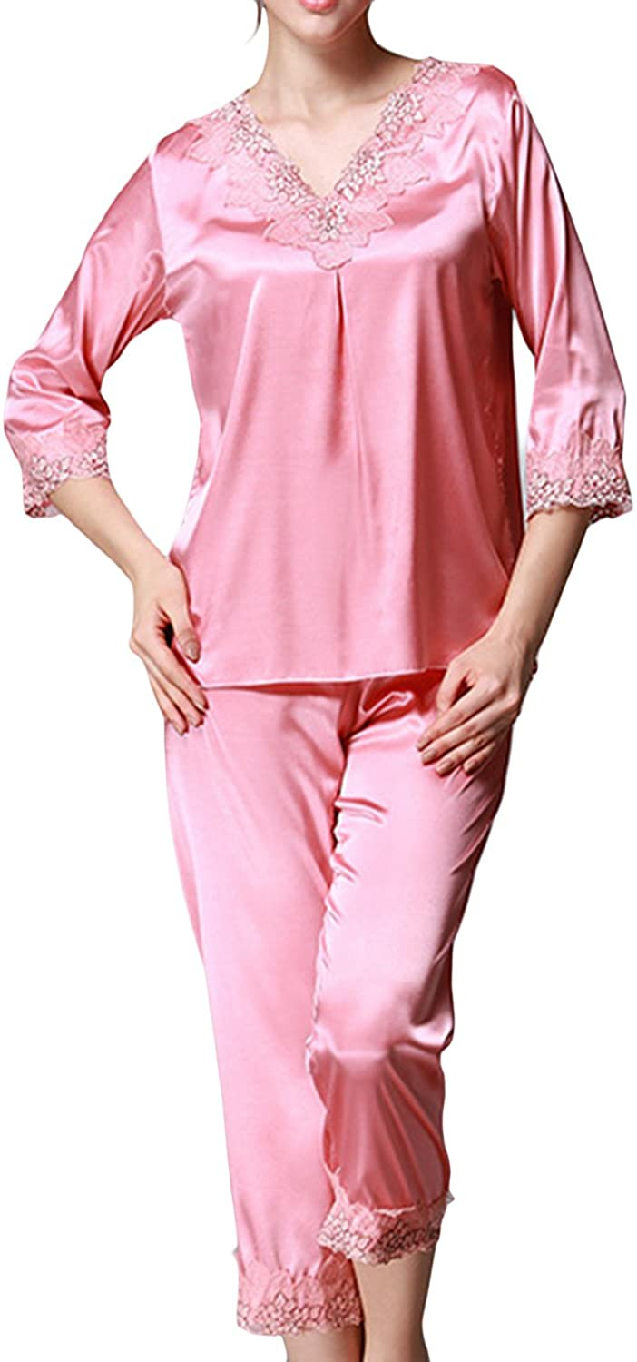 1920s Style Underwear, Lingerie, Nightgowns, Pajamas Asherbaby Womens Satin Pajamas Luxury Embroidery V-Neck Lounge Pj Set with Pants $24.99 AT vintagedancer.com
