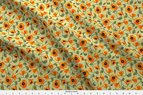 Printed Modern Poppies (Poppies Fabric - California Poppies Floral Yellow Green Orange Poppies Yellow Flowers Field Flower Field Poppy by Juditgueth Printed on Modern Jersey Fabric by The Yard)