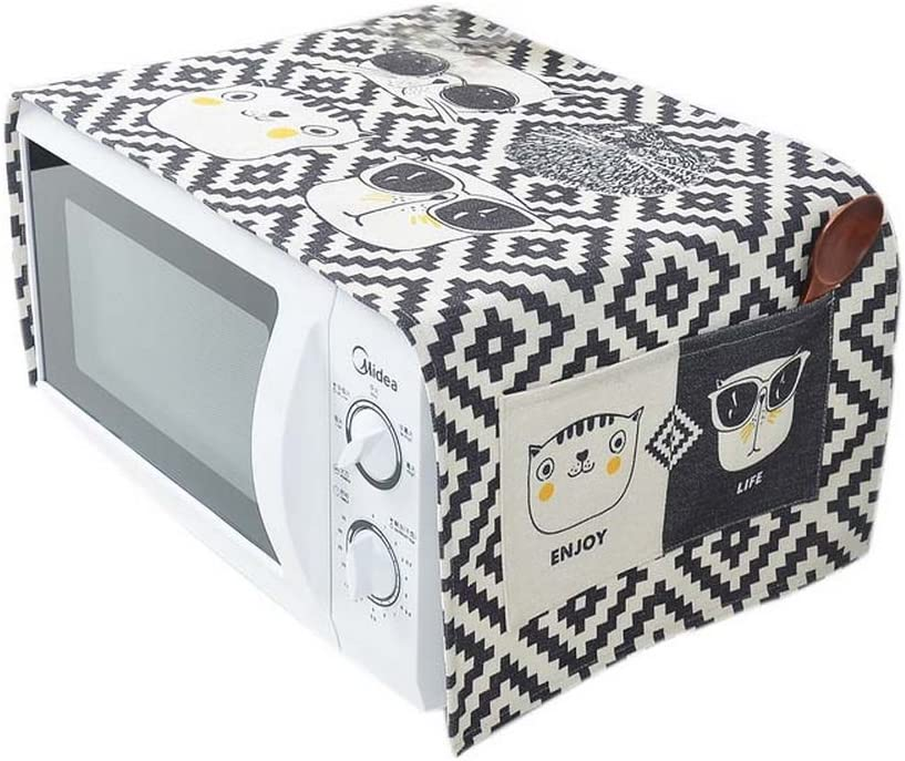 Kungfu Alien Cartoon Cat Pattern Cotton and Linen Microwave Oven Dustproof Cover with Storage Bags (C01)