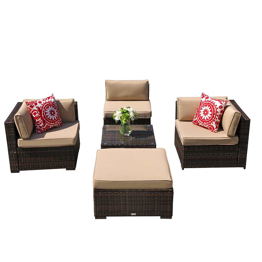 PATIOROMA Outdoor Furniture Sectional Sofa Set (5-Piece Set) All-Weather Brown PE Wicker Beige Seat Cushions &Glass Coffee Table| Patio, Backyard, Pool| Steel Frame