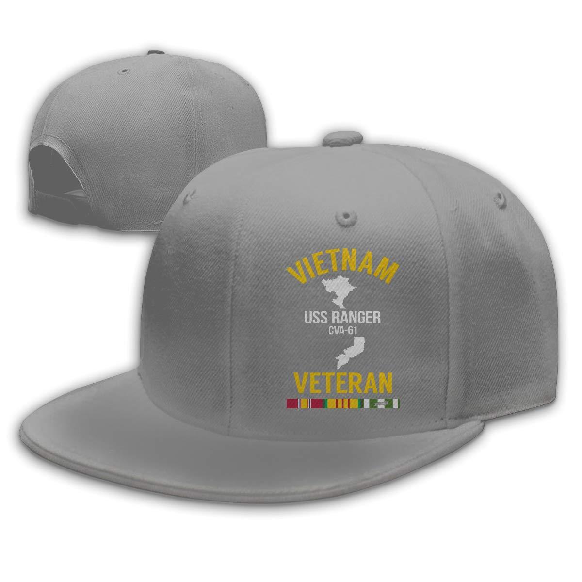 WANGTONG Vietnam Veteran USS Ranger CVA-61 Unisex Snapback Hats Flat Bill Baseball Cap Dad Hat