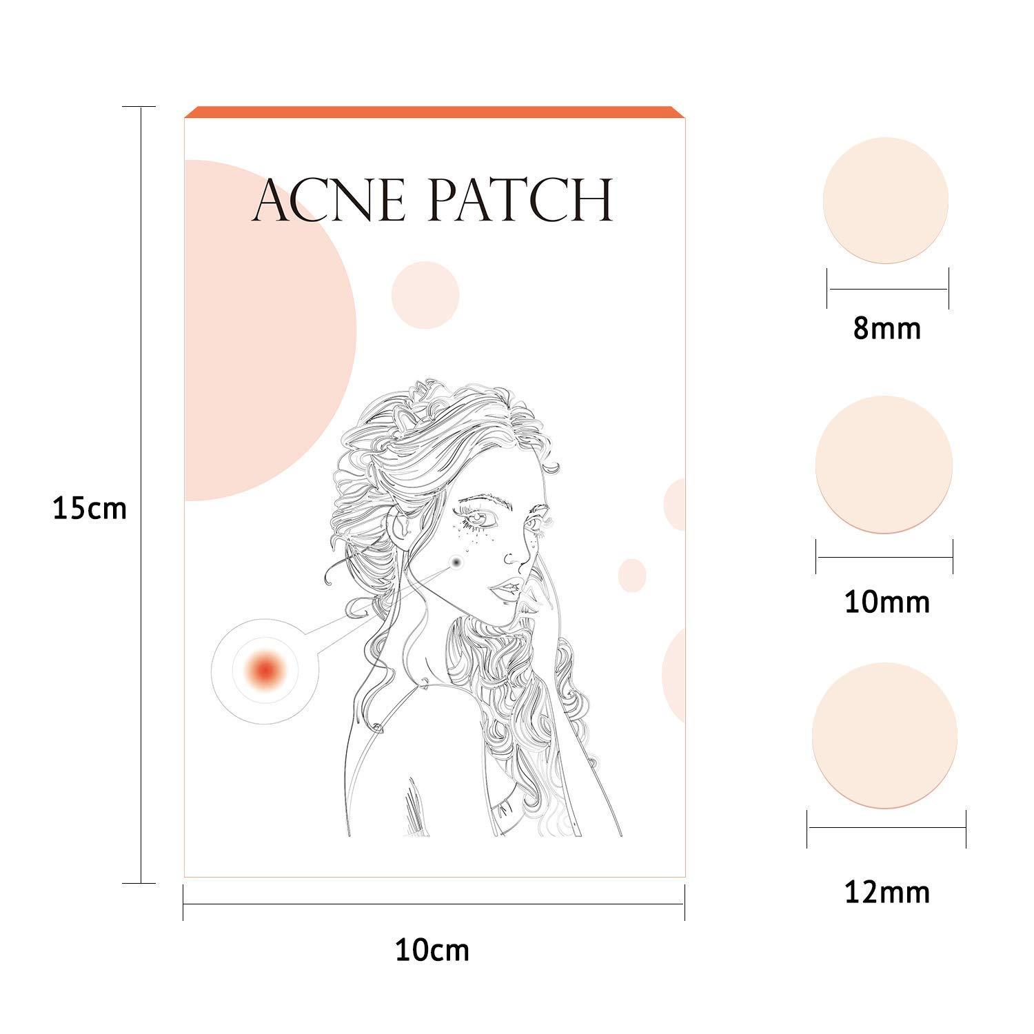 Acne Pimple Healing Patch Hydrocolloid Acne Absorbing Spot Dot 5 Pack x 24 Count(Size 8mm, 10mm, 12mm)