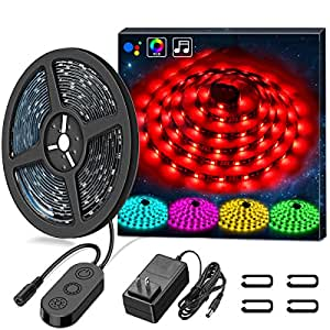 LED Strip Lights LED Lights Sync To Music, MINGER 16.4Ft/5M LED Light Strip 300 LED Lights SMD 5050 Waterproof Flexible RGB Strip Lights, LED Tape Lights, 12V Strip Lighting for Bedroom Holiday Party