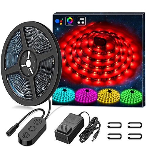 Large Product Image of LED Strip Lights LED Lights Sync To Music, MINGER 16.4Ft/5M LED Light Strip 150 LED Lights SMD 5050 Waterproof Flexible RGB Strip Lights, LED Tape Lights, 12V Strip Lighting for Bedroom DC UL Listed
