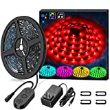 Music LED Strip Lights,MINGER RGB 16.4ft Sync to Music Waterproof Rope Light Built-in MIC, 12V 5050 RGB Flexible Strip Lighting for Indoor Home Kitchen Bedroom Holiday Party