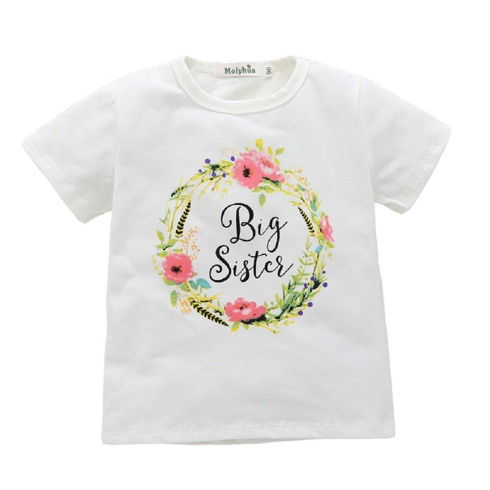 Big Sister Shirt,Little Sister Romper, Little Sky Letter Flower Print Short Sleeve Outfits White