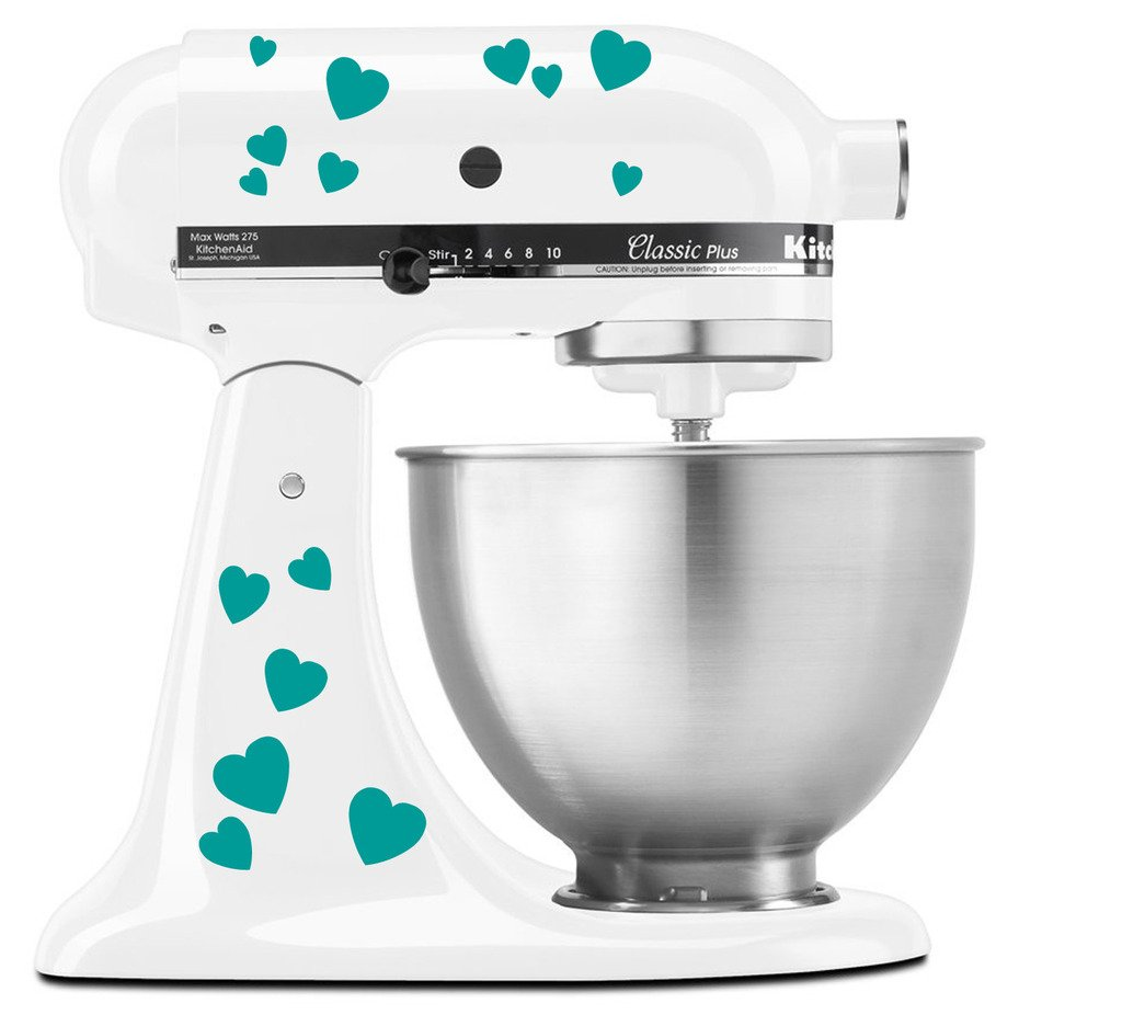 Hearts Bae Valentine Pattern - Vinyl Decal Set for Kitchen Mixers - Turquoise