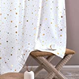 jinchan Light Filtering Curtains Grommet Top Gold Star Pattern Kids Bedroom Window Drapes Soft Sturdy Curtain for Living Room